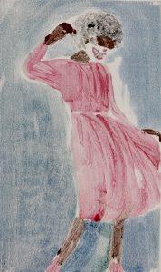 Farbige Frau im roten Kleid mit Clownsmaske, Monotypie