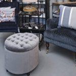 Lænestol, spisebordstol, blå velour
