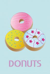 plakat med donuts_blå