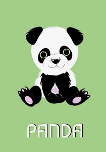 børneplakat med grøn panda