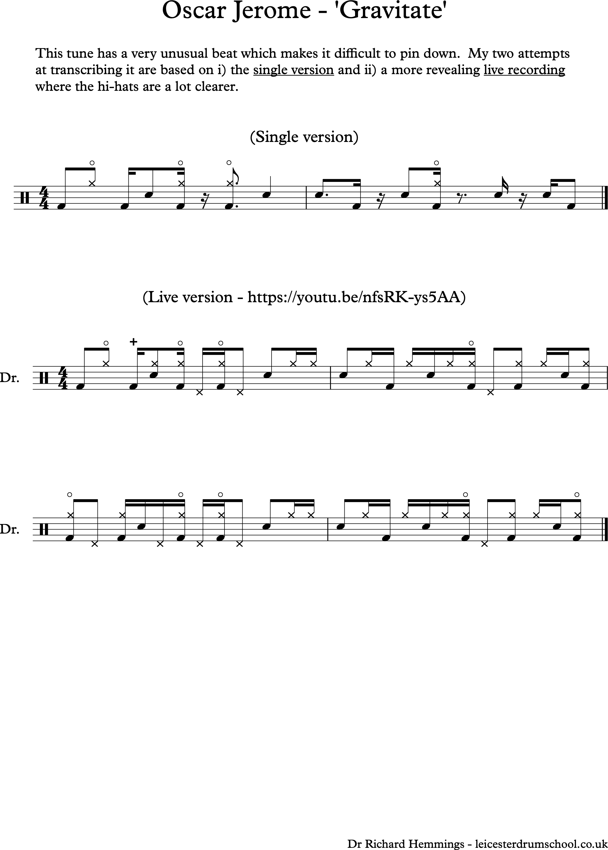 Oscar Jerome Gravitate drum transcription