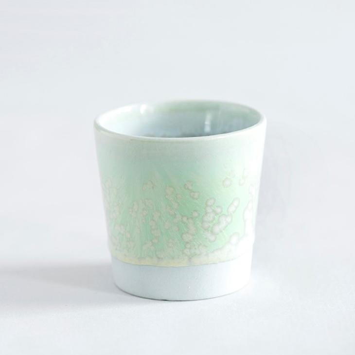 Espressokop I Grønt Ler Med Grøn Krystalglasur