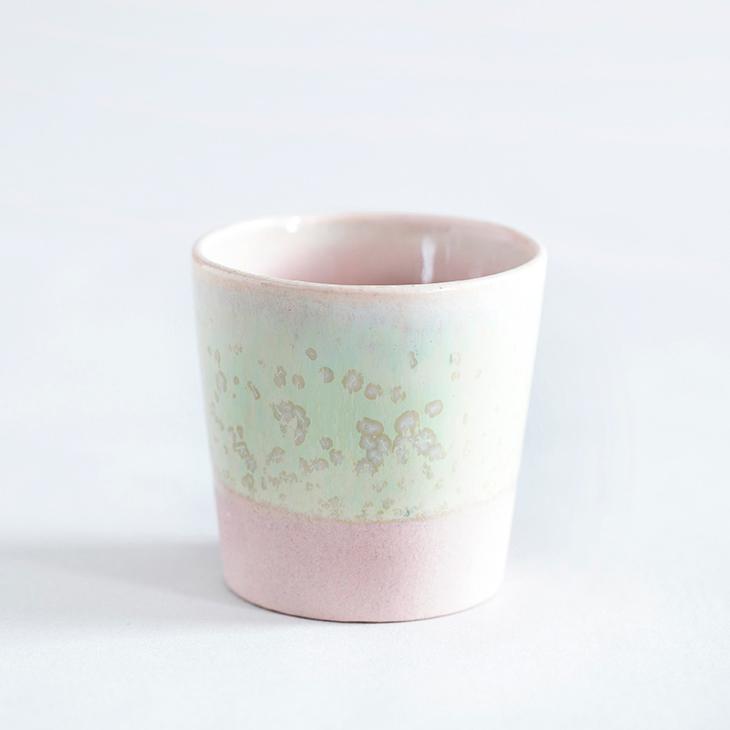 Espressokop I Rosa Ler Med Grøn Krystalglasur