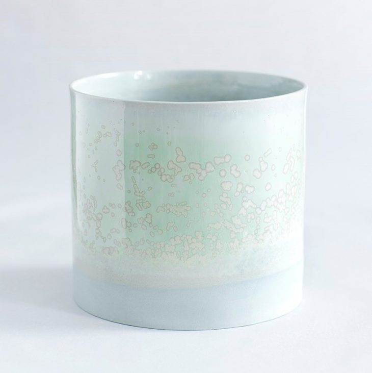 Håndlavet urtepotte farve grøn glasur. København keramik porcelæn Lena Pedersen