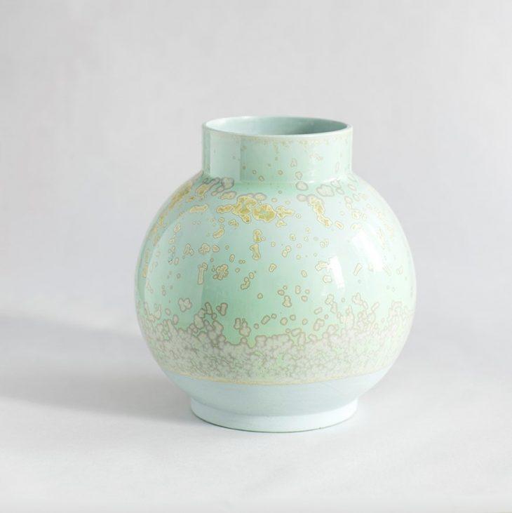 Vase Stor Rund I Grønt Ler Med Grøn Krystalglasur