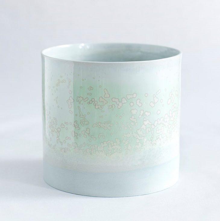 Urtepotte Stor I Grønt Ler Med Grøn Krystalglasur
