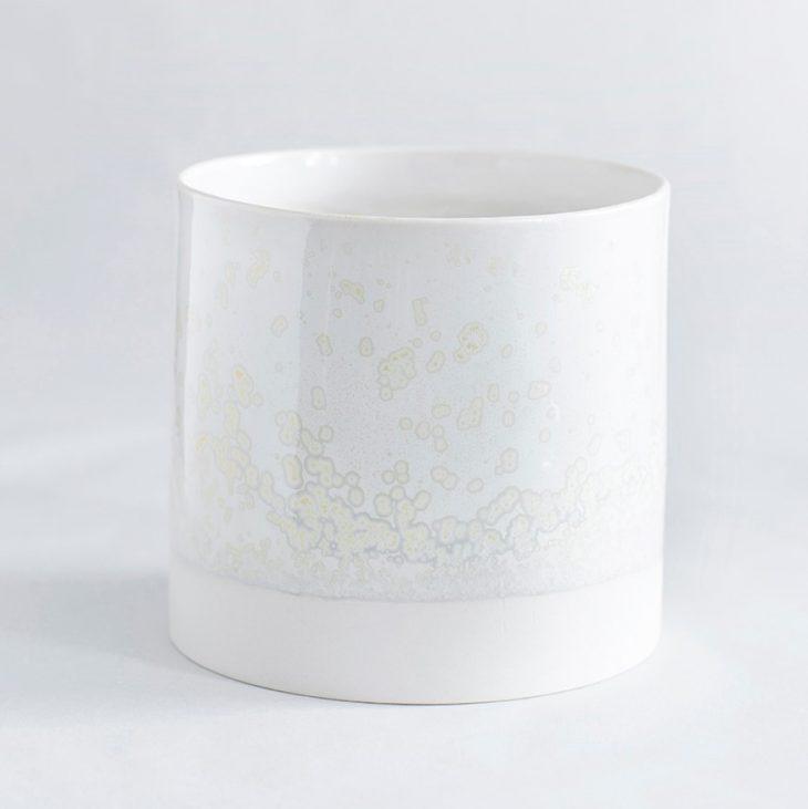 Urtepotte Stor I Hvidt Ler Med Hvid Krystalglasur