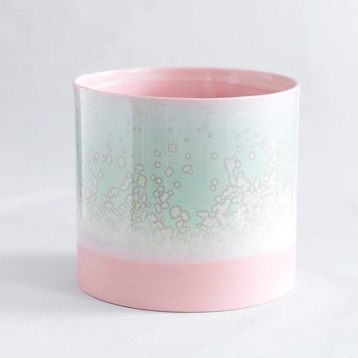 Urtepotte Stor I Rosa Ler Med Grøn Krystalglasur
