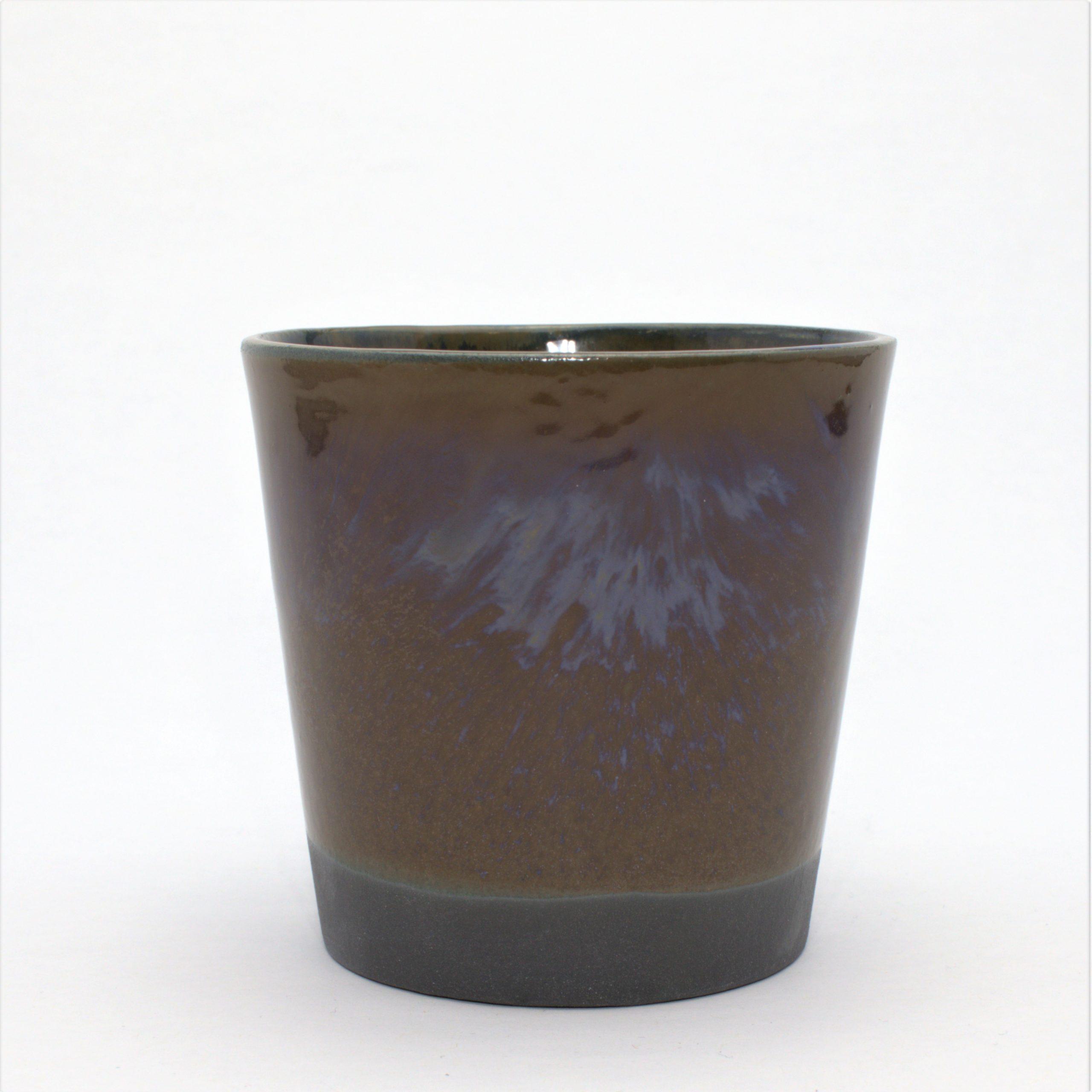 Kaffekop I Sort Ler Med Blå/brun Glasur