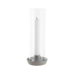 Ljusstake glas med grå stengods