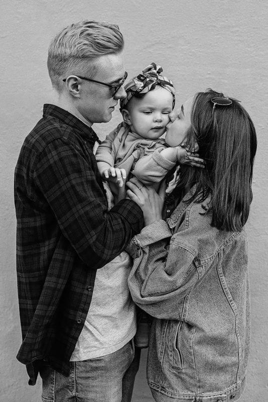 Familie portrætfotografering sort hvid