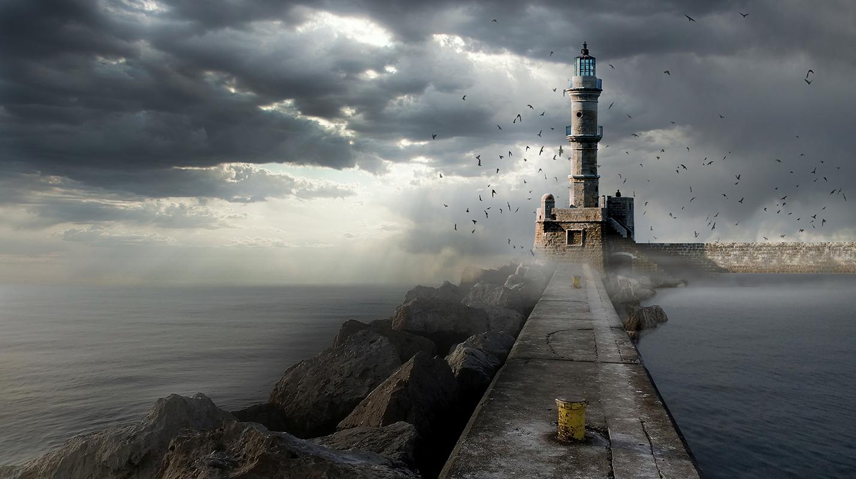 Fyrtårn ved havnemole