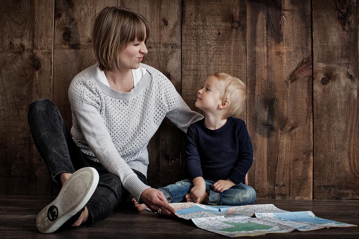 Mor og datter portrætbillede