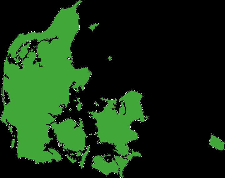Danmarkskort med grøn baggrund
