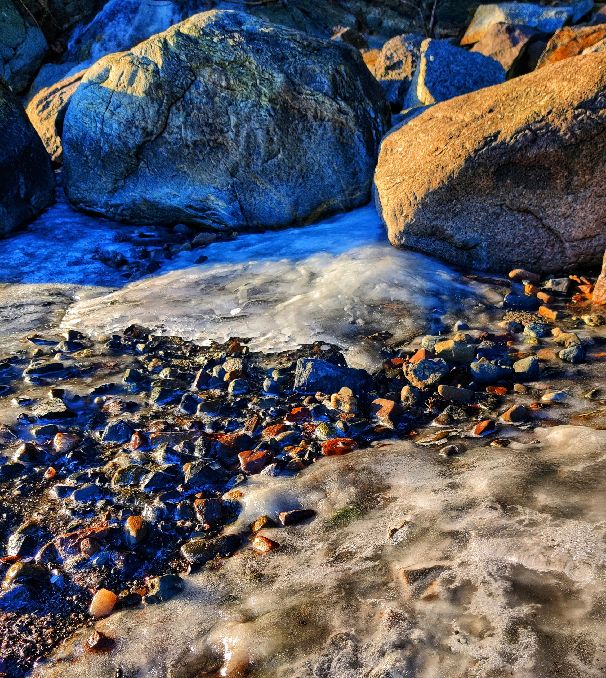 Melting ice on the shore