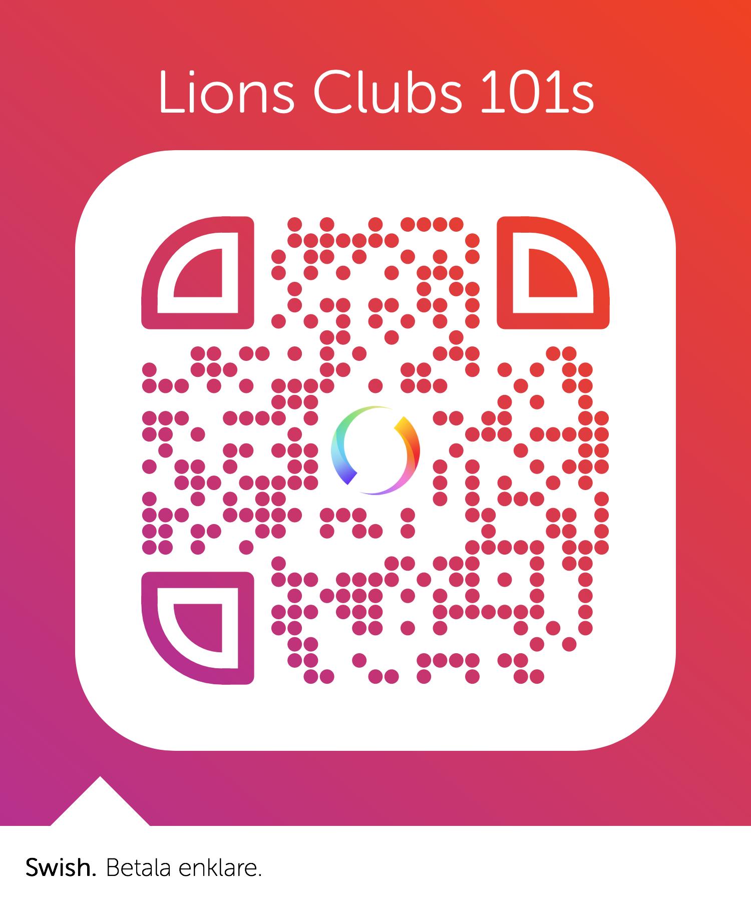 QR kod för att donera 100 kr till Lions