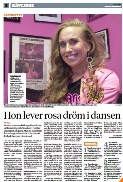 Artikel om Lina Larsson och LL Dance studions historia i Lokaltidningen oktober 2020