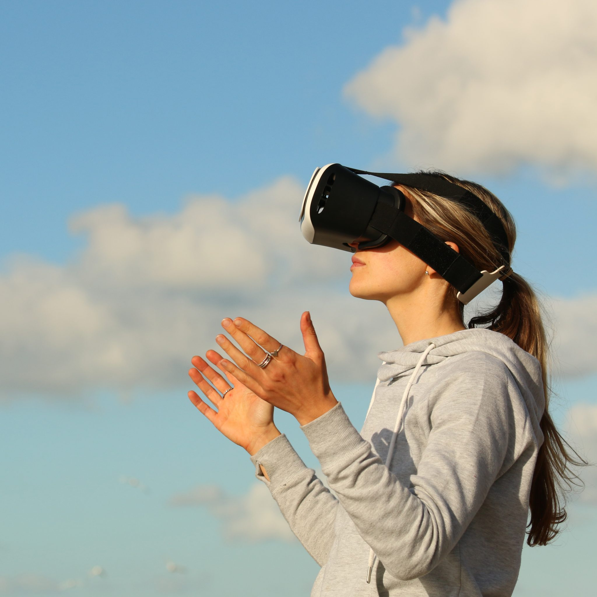 Woman wearing VR headset, part of Foolproof UX tech PR case study