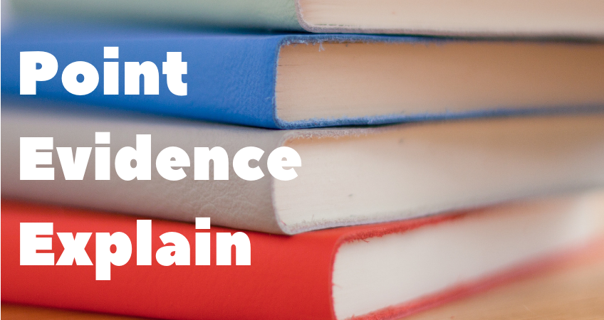 Colourful books with text over it: Point Evidence Explain
