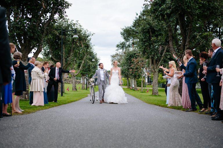 Konfetti, sykkel, Bryllup i Moss, Jeløy, Norge