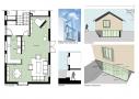 Skitse af glaskarnap og stueetage Skitsen viser principperne for glaskarnappen samt ombygning af stueetagen.