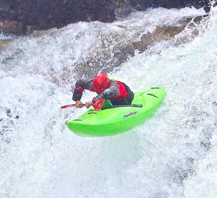 Kayaking on Ula River - First drop of triple drop