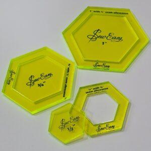 Magomar Patch Set de 3 plantillas hexagonales con margen desmoldable para realizar tecnicas de pieceo o aplicaciones.