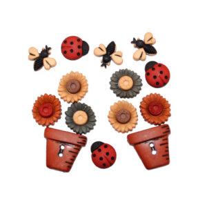 Botones Decorativos Magomar Patch Insectos, Flores y Macetas