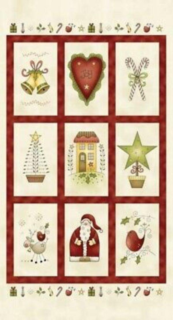 Telas Magomar Patch Panel Gallo rojo todas las cosas Navidad redroosterfabrics 26557 90x110cm 11,00eu 60x110cm 9 cuadros de 25x15cm