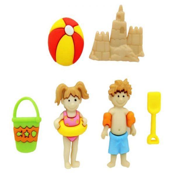 Magomar Patch Botones Decorativos IDEAS - Niño y Niña en la playa Day at the Beach Ref MP8418