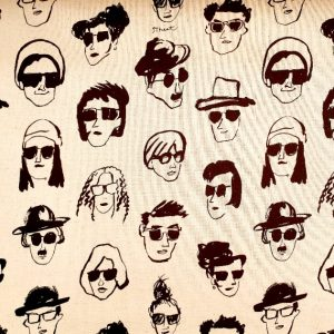 Telas Magomar Patch Estampada Lino_Algodón - colección Canvas Funny Face - motivo personas con gafas - diseñada e impresa en Japón Ref. MPAP 05803-1B