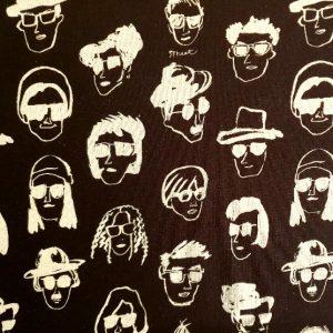 Telas Magomar Patch Estampada Lino_Algodón - colección Canvas Funny Face - motivo personas con gafas - diseñada e impresa en Japón Ref. MPAP 05803-1E