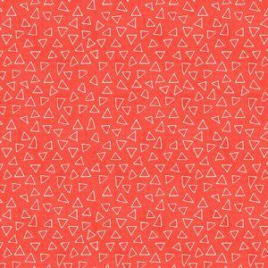 Telas Magomar Patch Estampada - colección It's Raining Cats and Dogs - motivo Triangulos flotante en fondo Coral - Benartex 100% Algodón - Ref. MP10338