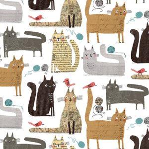 Telas Magomar Patch Estampada - colección It's Raining Cats and Dogs - motivo gatos en fondo blanco - Benartex 100% Algodón - Ref. MP10334