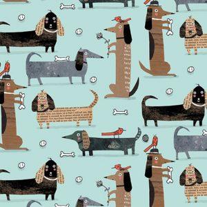 Telas Magomar Patch Estampada - colección It's Raining Cats and Dogs - motivo perros en fondo verde azulado - Benartex 100% Algodón - Ref. MP10342