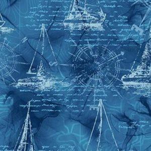 Telas Magomar Patch Estampada - colección Sail Away - motivo Veleros y Cartas Marinas - tonos azules - Metro Northcott 100% Algodón Ref. MPDP24166-44 (1)