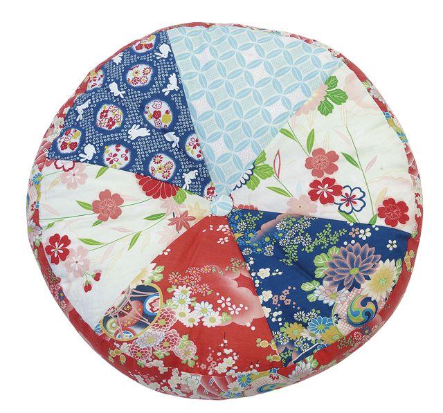 Kimono Cushion patchwork round stuffed S