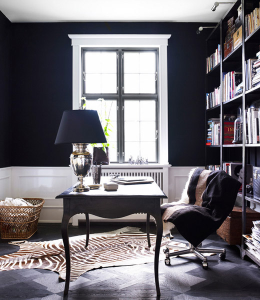 Day-Birger-et-Mikkelsen-office-black-walls-zebra-rug-bookshelves-Lonny-Dec-2012
