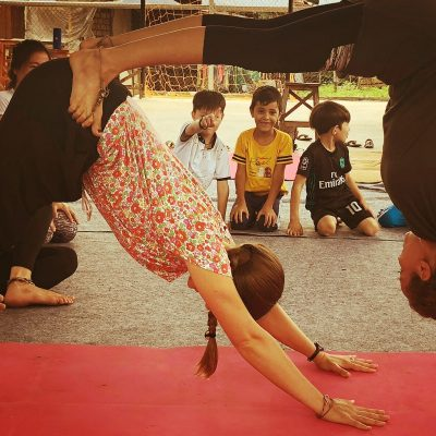 Acroyoga with refugees