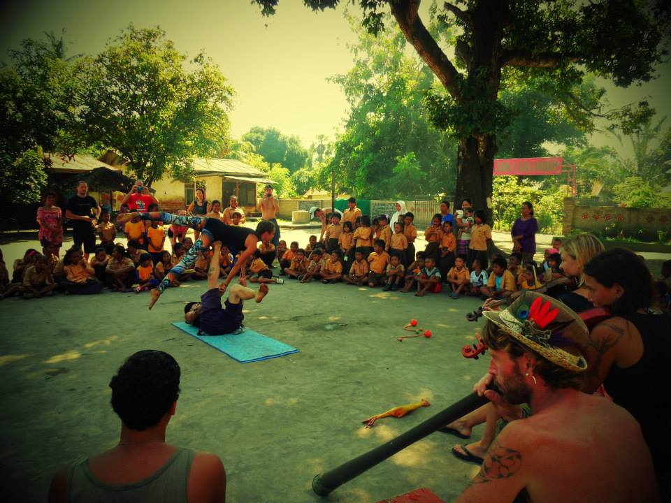 Acroyoga Circus Show at Gili Air Primary School