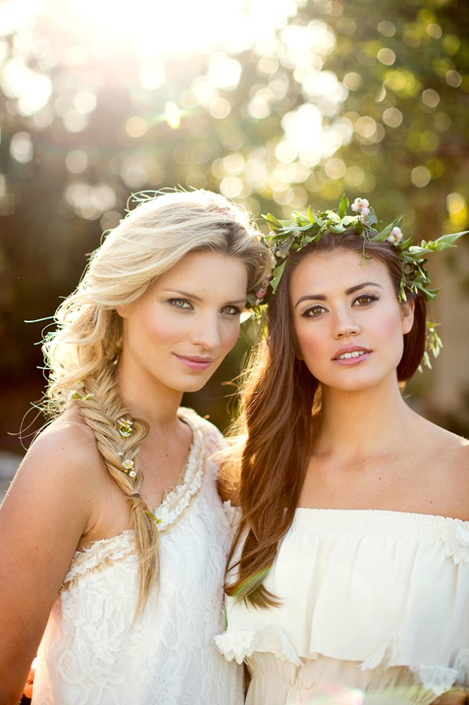 Tessa Maye & Sophie Porley. Floral hair with Hepburn Collection hair, Fairynuff Flowers blooms, Minna gown and Marianne Taylor photography.