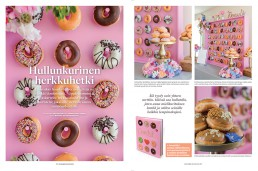 Pink doughnut wall featured in Mennaan Naimisiin magazine.