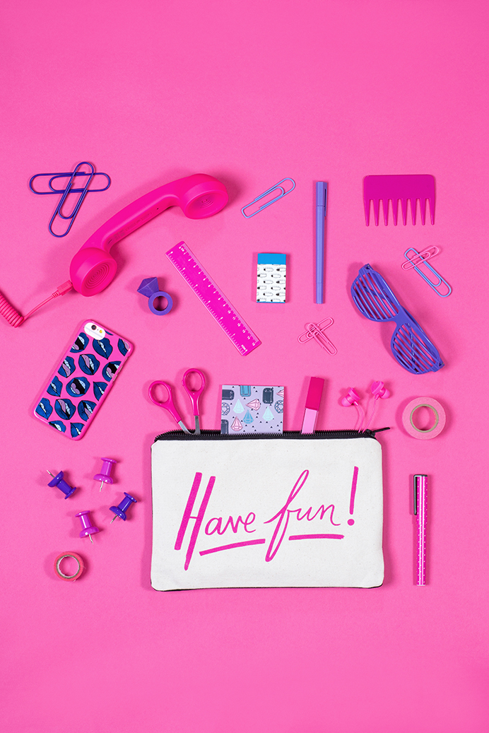 Reversible Work Hard/Have Fun pouch by Alphabet Bags. Colourful product photography by Marianne Taylor.