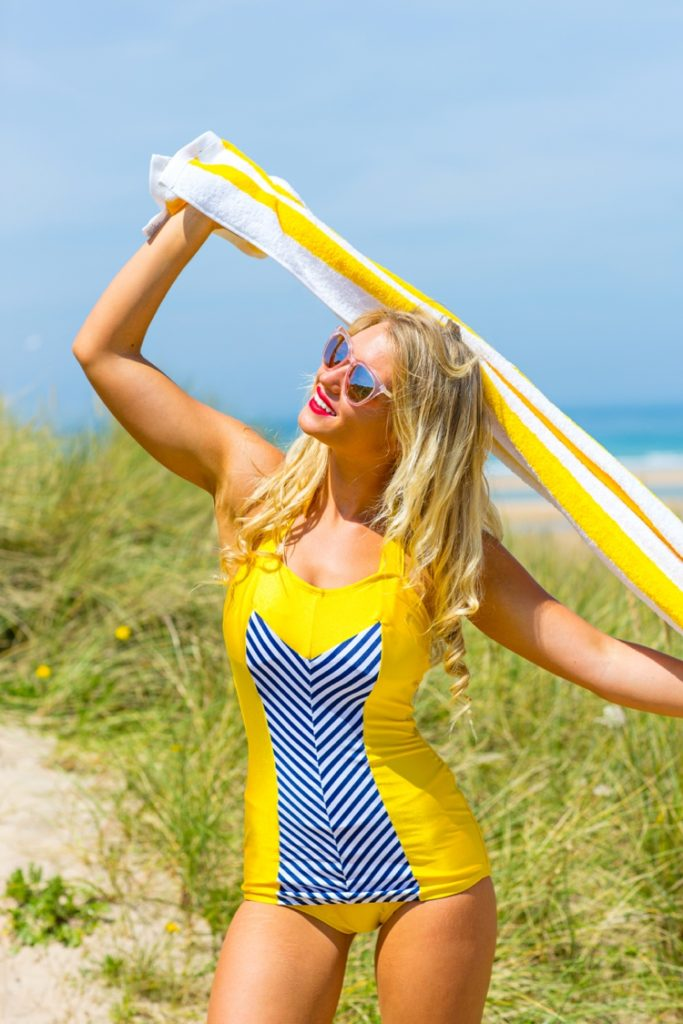 Colourful beach lifestyle photography in Cornwall by Marianne Taylor for For Luna Swimwear.