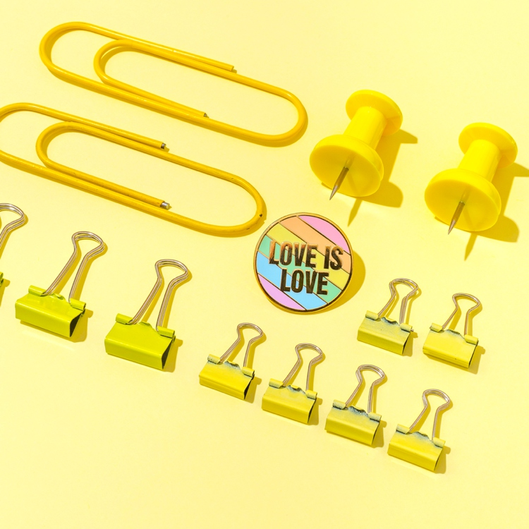 Colourful enamel pin product & lifestyle photography and styling by Marianne Taylor.