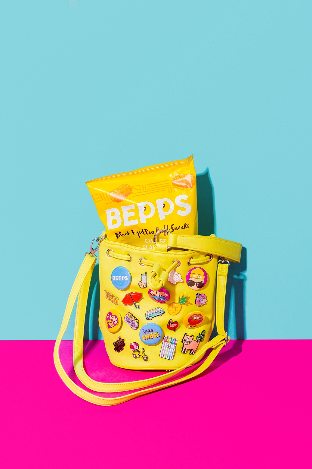 Colourful product photography and content creation for Bepps Snacks by Marianne Taylor.