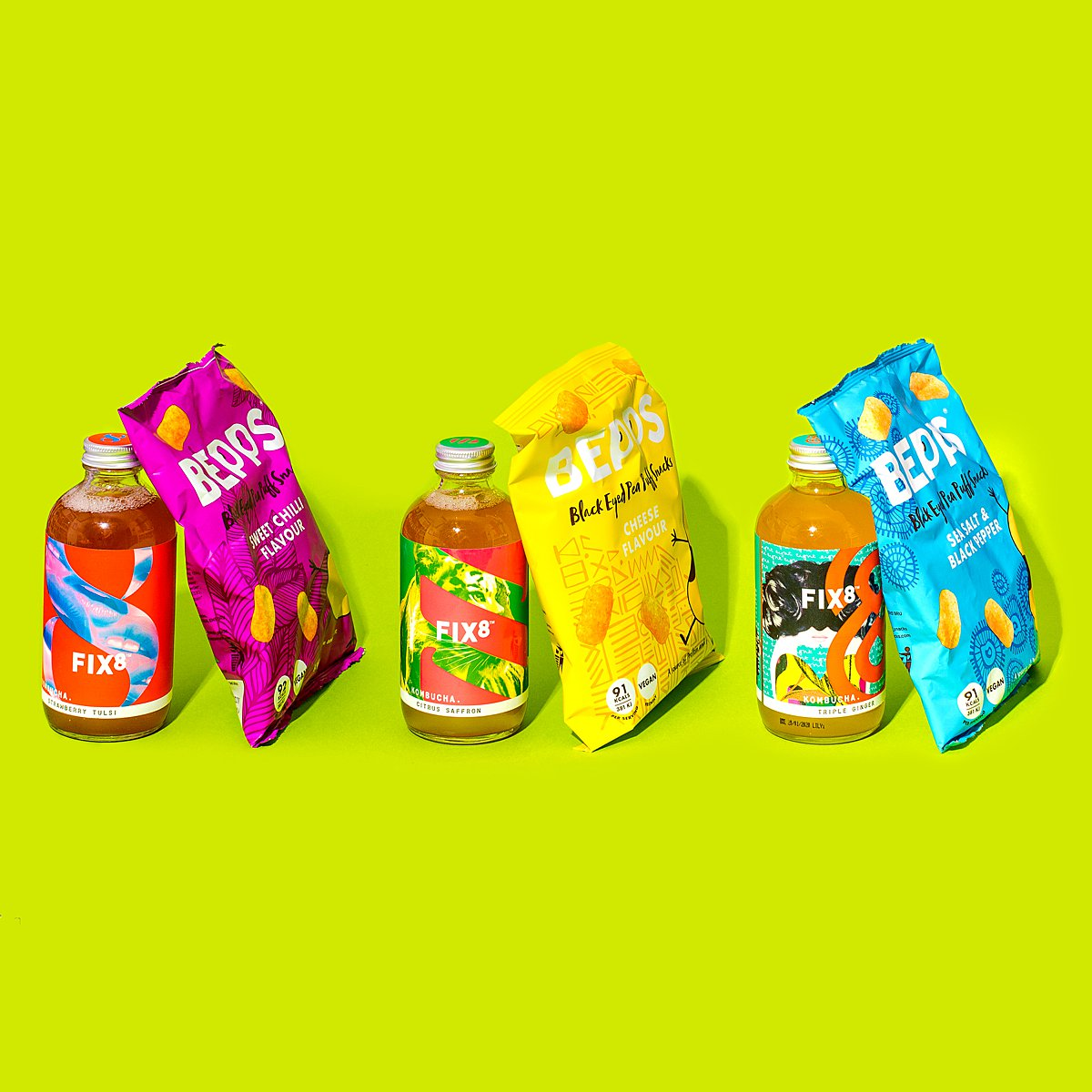 Colourful content creation for Bepps snacks. Styled stills and lifestyle product photography by Marianne Taylor.