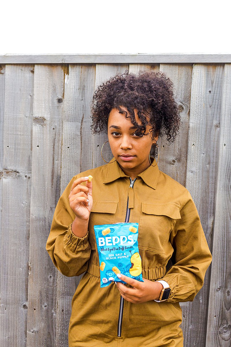 Colourful content creation for Bepps vegan snacks. Styled stills and lifestyle product photography by Marianne Taylor.