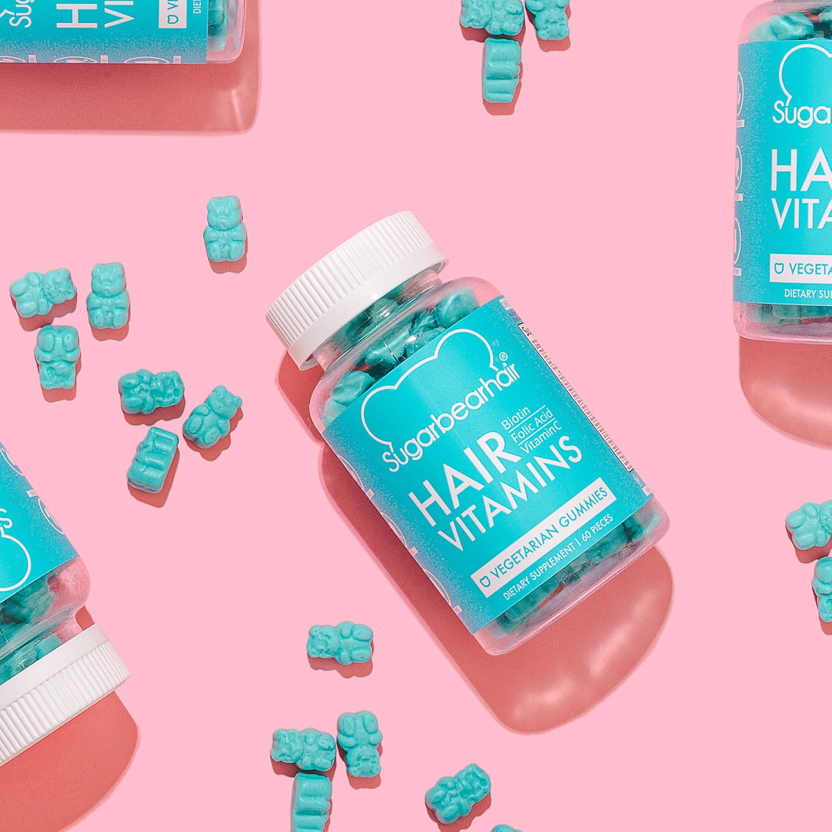 Colourful content creation for SugarBearHair vitamin supplements. Styled cosmetics product photography by Marianne Taylor.