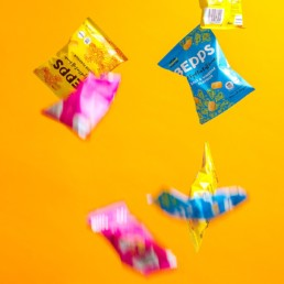 Colourful content creation for Bepps vegan snacks. Styled product and food photography by Marianne Taylor.